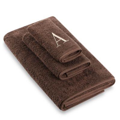 """Avanti Premier Ivory Block Monogram Letter """"A"""" Hand Towel in Mocha"""