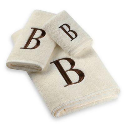 Avanti Premier Brown Block Monogram Bath Towels in Ivory