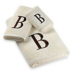 Avanti Premier Brown Block Monogram on Ivory Bath Towels, 100% Cotton