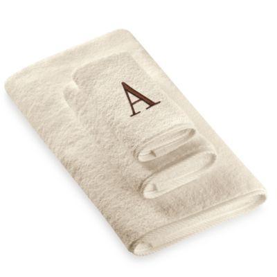 "Avanti Premier Brown Block Monogram Letter ""A"" Hand Towel in Ivory"