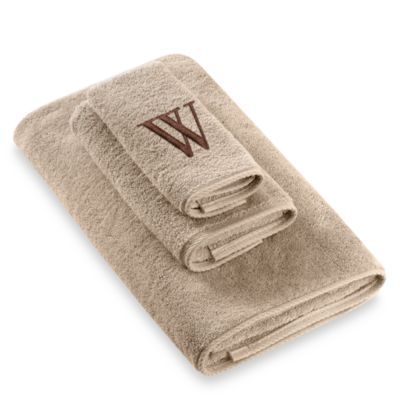 "Avanti Premier Brown Block Monogram Letter ""W"" Bath Towel in Linen"