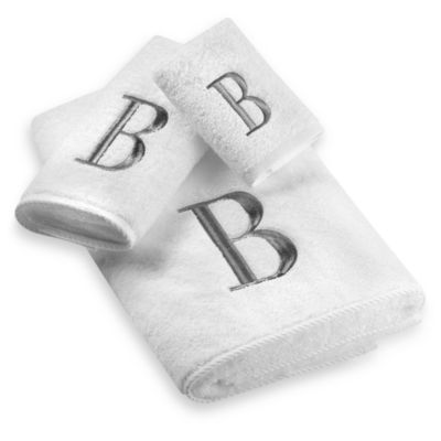 "Avanti Premier Silver Block Monogram Letter ""A"" Bath Towel in White"
