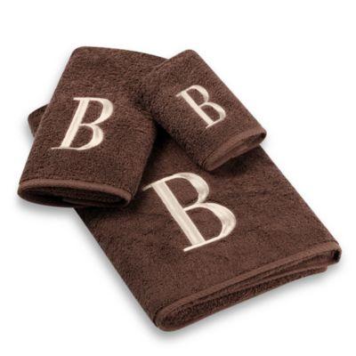 "Avanti Premier Ivory Block Monogram Letter ""H"" Fingertip Towel in Mocha"
