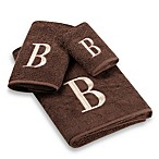 Avanti Premier Ivory Block Monogram Bath Towels in Mocha