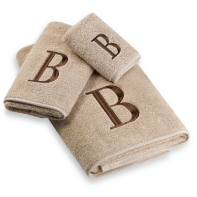 "Avanti Premier Brown Block Monogram Letter ""A"" Bath Towel in Linen"