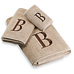 Avanti Premier Brown Block Monogram Bath Towels in Linen