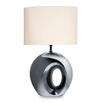 Black Chrome-Finish Ceramic Table Lamp
