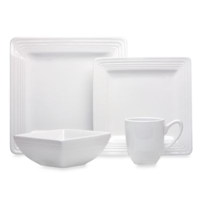 Laurie Gates Dekko Square Vintage White 4-Piece Place Setting