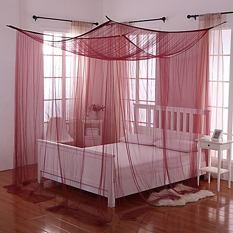 Buy Palace 4 Poster Bed Canopy In Burgundy From Bed Bath
