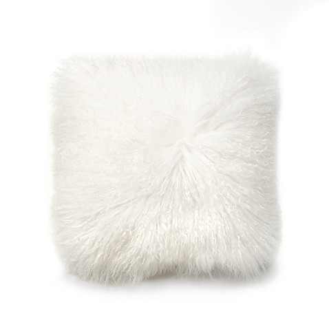 Ugg 174 Mongolian Lamb Fur Square Throw Pillow In Natural