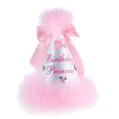 Birthday Princess Party Hat in Pink and White