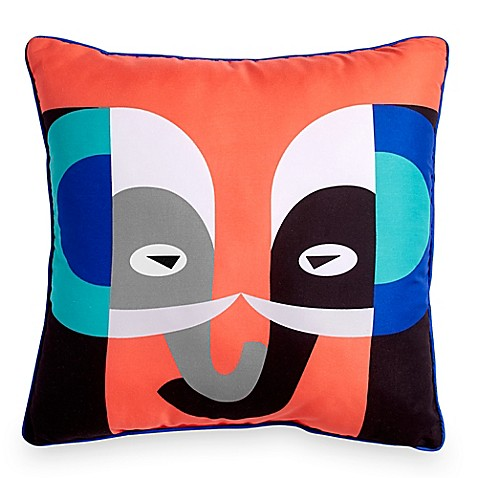 Elephant Throw Pillow Bed Bath And Beyond : Scribble Elephant 16-Inch Square Throw Pillow in Orange - Bed Bath & Beyond