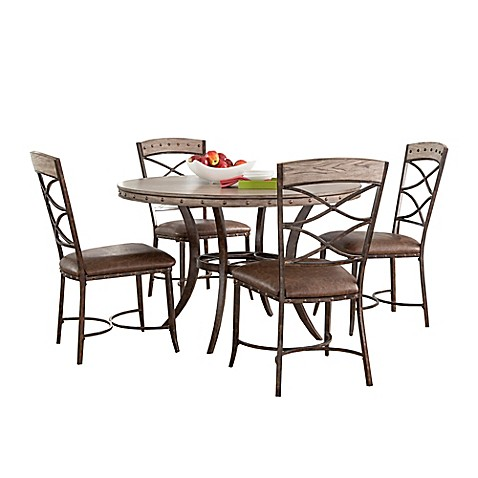 Hillsdale Emmons 5 Piece Round Dining Set In Grey Bed Bath Beyond