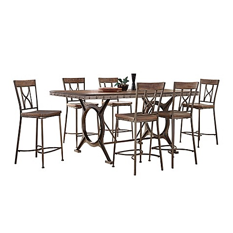 Hillsdale Paddock 7 Piece Counter Height Dining Set In Grey Bed Bath