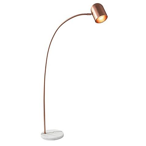 Adessor simone floor lamp in brushed copper with copper for Brushed copper floor lamp