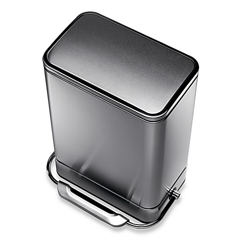 simplehuman® Stainless Steel Fingerprint-Proof Rectangular 38-Liter Steel Bar Step Trash Can