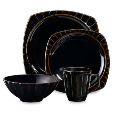 Society 16-Piece Dinnerware Set in Black