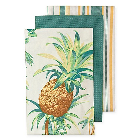 Tommy Bahama Tortuga Pineapple Kitchen Towels Set Of 3