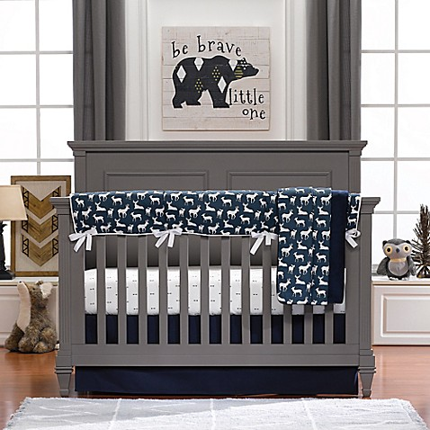 Liz And Roo Woodland Deer 3 Piece Crib Bedding Set In Navy