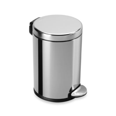 simplehuman® Polished Stainless Steel Fingerprint-Proof 4-1/2-Liter Round Wastebasket