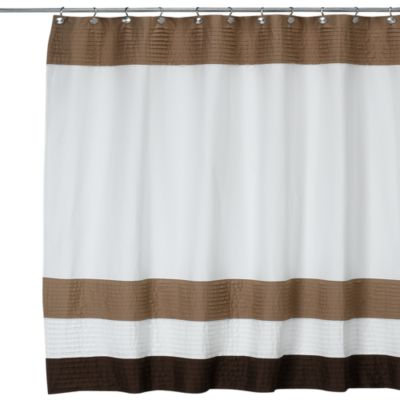 DKNY Color Block Cafe 72-Inch W x 72-Inch L Fabric Shower Curtain
