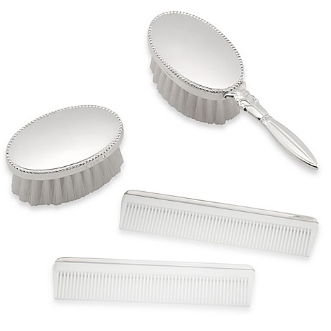 Sterling Silver Beaded Brush and Comb Gift Box Sets
