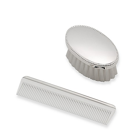 Boy's Sterling Silver Beaded Brush and Comb Set