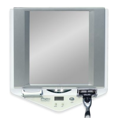 Z-Foot Fogless™ LED Lighted Fog-Free Shower Mirror with LCD Clock