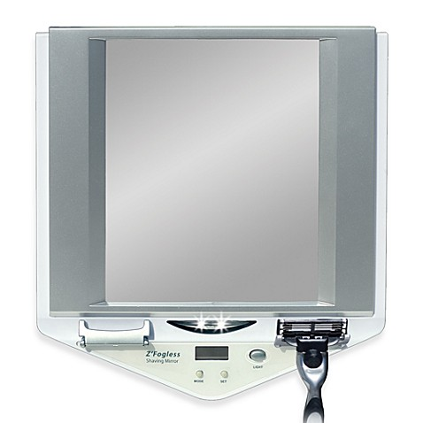 lighted fog free shower mirror with lcd clock from bed bath beyond
