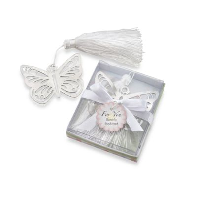 Kate Aspen® Butterfly Silver-Metal Bookmark Favor with White Silk Tassel