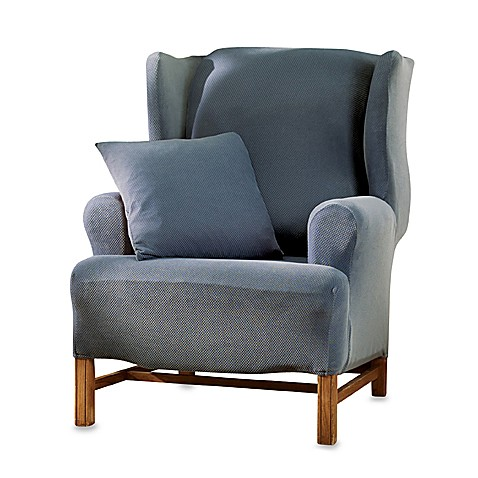 buy sure fit stretch pique wing chair slipcover in blue