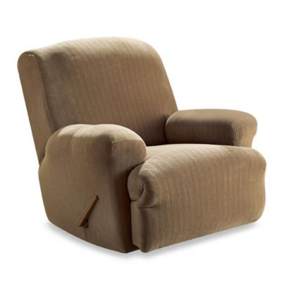 Stretch Pinstripe Taupe Recliner Slipcover by Sure Fit®