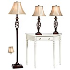 Three-Piece Marble Twist Lamp Set with CFL Bulbs