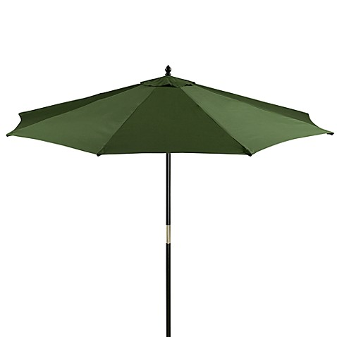 9-Foot Round Hardwood Patio Umbrella in Olive