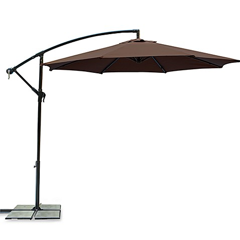 9-Foot Powder-Coated Steel Cantilever Round Umbrella in Chocolate
