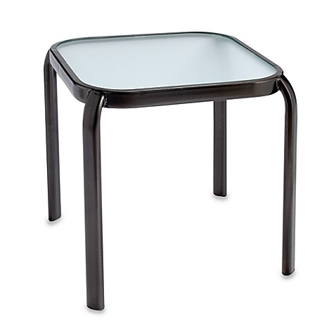 Glass Top Accent Table in Metal Bronze
