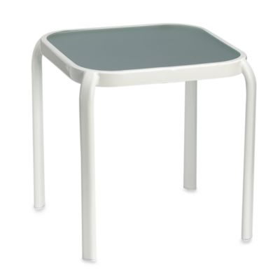 Glass Top White Accent Table
