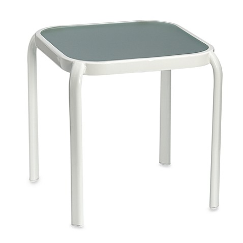 Hawthorne Glass Top Accent Table in White