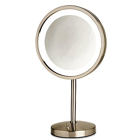 Buy Jerdon® Tabletop LED Lighted Vanity Mirror in Nickel ...