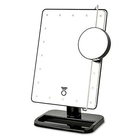 Jerdon LED Touch Mirror with Vanity Tray in Black