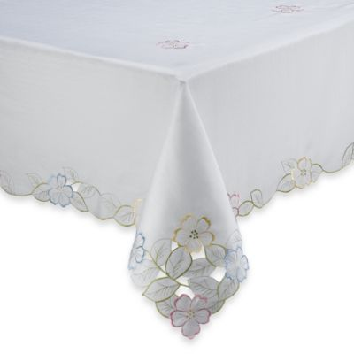 Spring Flower Cutwork 60-Inch x 120-Inch Tablecloth