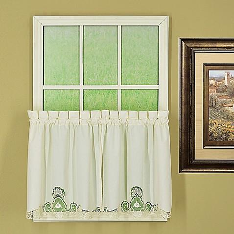 Buy Annabelle 36 Inch Kitchen Window Curtain Tier Pair In Ecru From Bed Bath Beyond