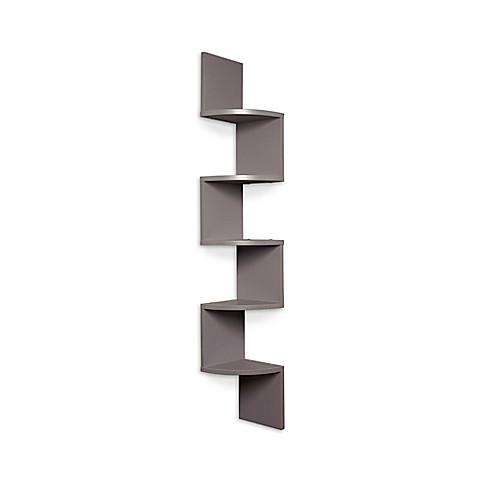 Danya b laminate zigzag corner wall mount shelf in grey bed bath beyond - Danya b corner shelf ...