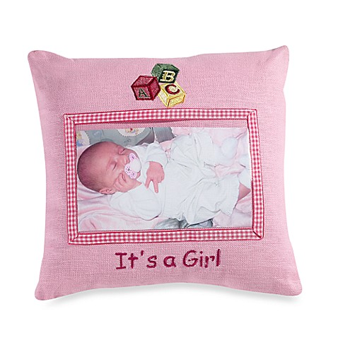 Miniature 4-Inch x 6-Inch It's A Girl Decorative Photo Pillow