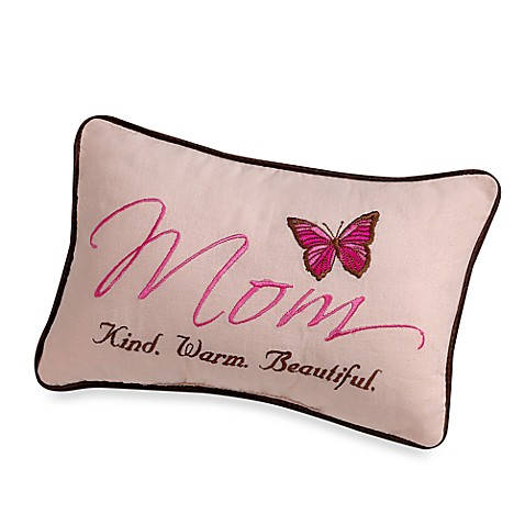 Miniature Mom. Kind. Warm. Beautiful. Embroidered Decorative Pillow