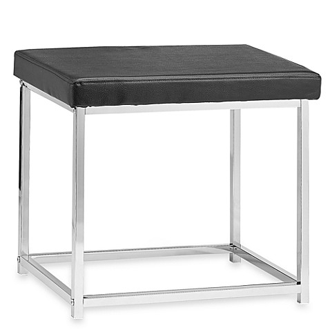 Black rectangle vanity stool bed bath beyond - Black and white vanity stool ...