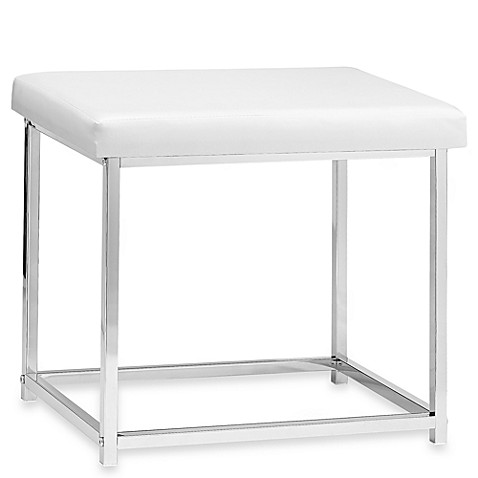 White Rectangle Vanity Stool
