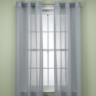 Anya Crushed Voile 84-Inch Window Sheer with Grommets in Blue