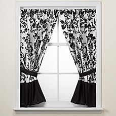 Rosewood Black and White Window Panels by Nicole Miller