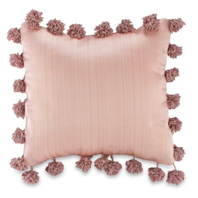 Glenna Jean Madison Pom Pom Square Toss Pillow in Pink